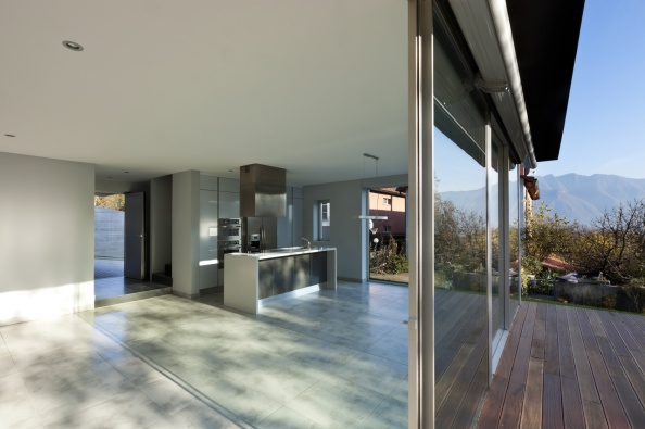 beautiful modern house, view of kitchen from the patio